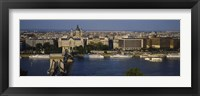 Framed Buildings at the waterfront, Chain Bridge, Danube River, Budapest, Hungary