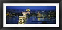 Framed High angle view of a suspension bridge lit up at dusk, Chain Bridge, Danube River, Budapest, Hungary