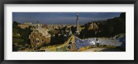 Framed High angle view of a city, Parc Guell, Barcelona, Catalonia, Spain