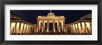 Framed Low angle view of a gate lit up at night, Brandenburg Gate, Berlin, Germany