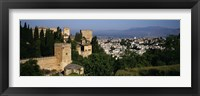 Framed High angle view of palace with a city in the background, Alhambra, Granada, Andalusia, Spain