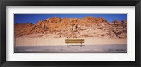 Framed Bench in front of rocks, Red Rock Canyon State Park, Nevada, USA