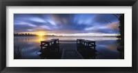 Framed Panoramic view of a pier at dusk, Vuoksi River, Imatra, Finland