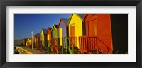 Framed Beach huts in a row, St James, Cape Town, South Africa