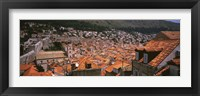 Framed High angle view of a city as seen from Southwest side of city wall, Dubrovnik, Croatia