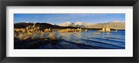 Framed Lake with mountains in the background, Mono Lake, Eastern Sierra, Californian Sierra Nevada, California, USA