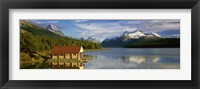 Framed Boathouse at the lakeside, Maligne Lake, Jasper National Park, Alberta, Canada