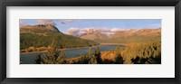 Framed High angle view of a river passing through a field, US Glacier National Park, Montana, USA