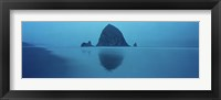 Framed Reflection of rock in water, Haystack Rock, Cannon Beach, Clatsop County, Oregon, USA