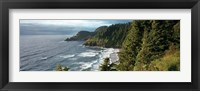 Framed High angle view of a coastline, Heceta Head Lighthouse, Oregon, USA
