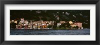Framed Buildings at the lakeside viewed from a ferry, Varenna, Lake Como, Lecco, Lombardy, Italy