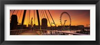 Framed Bridge with ferris wheel, Golden Jubilee Bridge, Thames River, Millennium Wheel, City Of Westminster, London, England