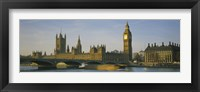 Framed Barge in a river, Thames River, Big Ben, City Of Westminster, London, England