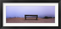 Framed Empty bench in a parking lot, California, USA