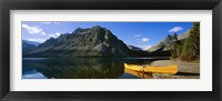 Framed Canoe at the lakeside, Bow Lake, Banff National Park, Alberta, Canada