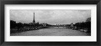 Framed River with a tower in the background, Seine River, Eiffel Tower, Paris, Ile-De-France, France