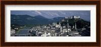 Framed High angle view of a castle on top of a mountain, Hohensalzburg Fortress, Salzach River, Salzburg, Austria
