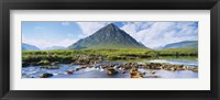 Framed River with a mountain in the background, Buachaille Etive Mor, Loch Etive, Rannoch Moor, Highlands Region, Scotland