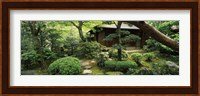Framed Temple in a garden, Yuzen-En Garden, Chion-In, Higashiyama Ward, Kyoto, Kyoto Prefecture, Kinki Region, Honshu, Japan