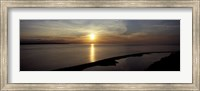 Framed Sunset over the sea, Ebey's Landing National Historical Reserve, Whidbey Island, Island County, Washington State, USA