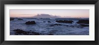 Framed Rocks in the sea with Table Mountain, Cape Town, South Africa