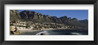 Framed Town at the coast with a mountain range, Twelve Apostle, Camps Bay, Cape Town, Western Cape Province, Republic of South Africa