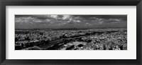 Framed Aerial view of a river passing through a city, Seine River, Paris, Ile-de-France, France