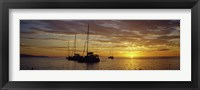 Framed Silhouette of sailboats in the sea at sunset, Tahiti, French Polynesia