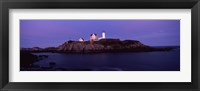 Framed Lighthouse on the coast at dusk, Nubble Lighthouse, York, York County, Maine