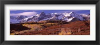 Framed Mountains covered with snow and fall colors, near Telluride, Colorado