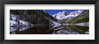 Framed Reflection of a mountain in a lake, Maroon Bells, Aspen, Colorado