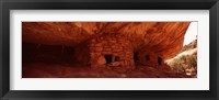 Framed Dwelling structures on a cliff, Anasazi Ruins, Mule Canyon, Utah, USA