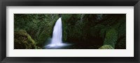 Framed Cascading waterfall in the Columbia River Gorge, Oregon, USA