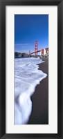 Framed Water surf under a suspension bridge, Golden Gate Bridge, San Francisco Bay, San Francisco, California, USA