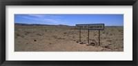 Framed Tropic Of Capricorn sign in a desert, Namibia