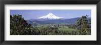 Framed Trees and farms with a snowcapped mountain in the background, Mt Hood, Oregon, USA