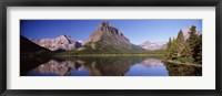 Framed Swiftcurrent Lake,US Glacier National Park, Montana, USA