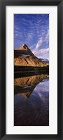 Framed Reflection of a mountain in a lake, Alpine Lake, US Glacier National Park, Montana, USA