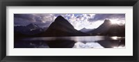 Framed Swiftcurrent Lake, Many Glacier, US Glacier National Park, Montana (cloudy sky)