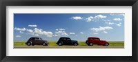 Framed Three Hot Rods moving on a highway, Route 66, USA