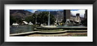 Framed Fountain with Table Mountain in the background, Cape Town, Western Cape Province, South Africa