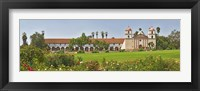 Framed Garden in front of a mission, Mission Santa Barbara, Santa Barbara, Santa Barbara County, California, USA