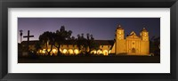 Framed Mission lit up at night, Mission Santa Barbara, Santa Barbara, Santa Barbara County, California, USA