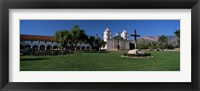 Framed Cross with a church in the background, Mission Santa Barbara, Santa Barbara, California, USA