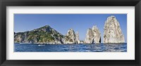 Framed Rock formations in the sea, Faraglioni, Capri, Naples, Campania, Italy