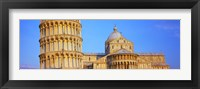 Framed Tower with a cathedral, Pisa Cathedral, Leaning Tower Of Pisa, Piazza Dei Miracoli, Pisa, Tuscany, Italy