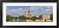 Framed Cathedral at the riverside, Notre Dame Cathedral, Seine River, Paris, Ile-de-France, France
