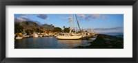 Framed Sailboats in the bay, Lahaina Harbor, Lahaina, Maui, Hawaii, USA