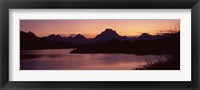 Framed River passing by a mountain range, Oxbow Bend, Snake River, Grand Teton National Park, Teton County, Wyoming, USA