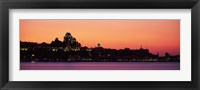 Framed City at dusk, Chateau Frontenac Hotel, Quebec City, Quebec, Canada